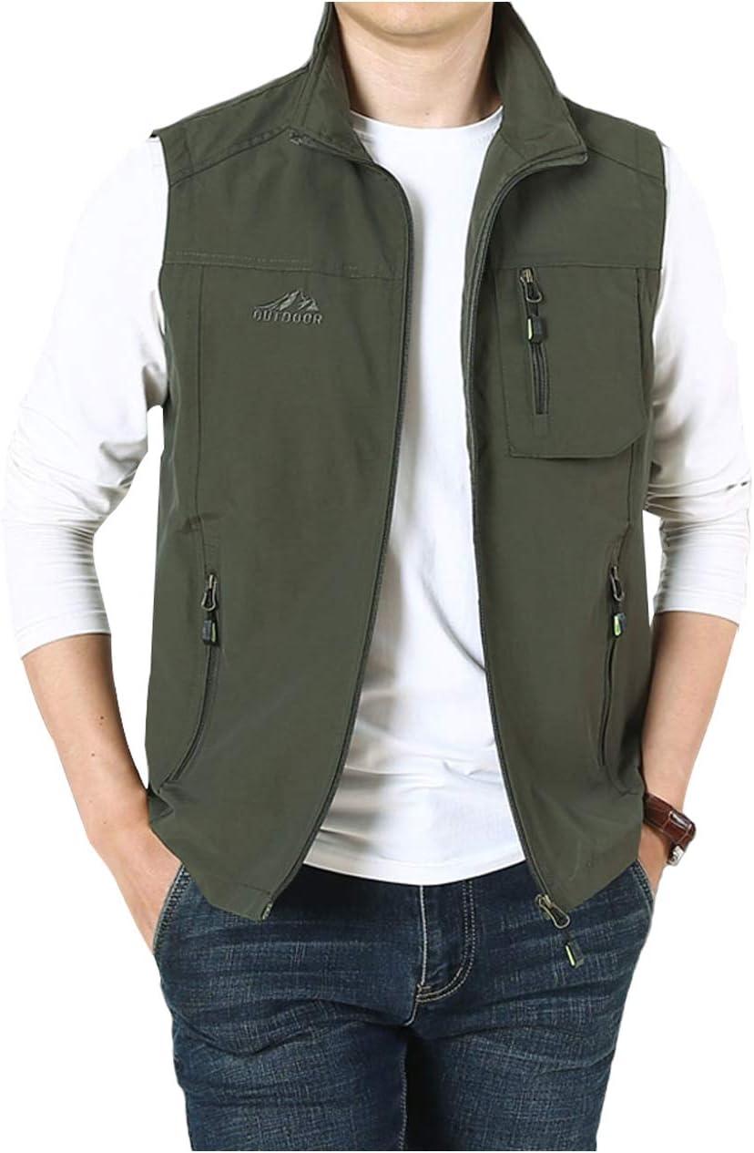 Hixiaohe Mens Casual Lightweight Outdoor Vest Work Fish Photo Travel Vest