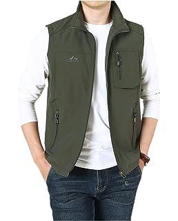 OLUOLIN Mens Casual Mesh Fishing Jacket Outdoor Quick Photography Work Zipper Pocket Vest
