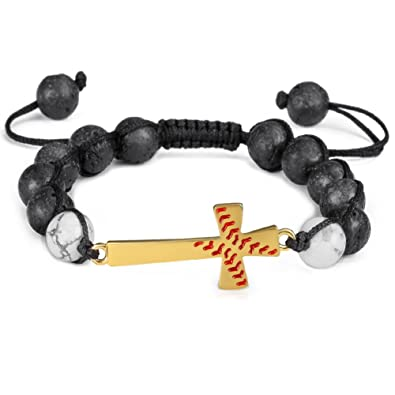 Amazon Com Exweup Baseball Cross 8mm Lava Beads Adjustable Bracelet