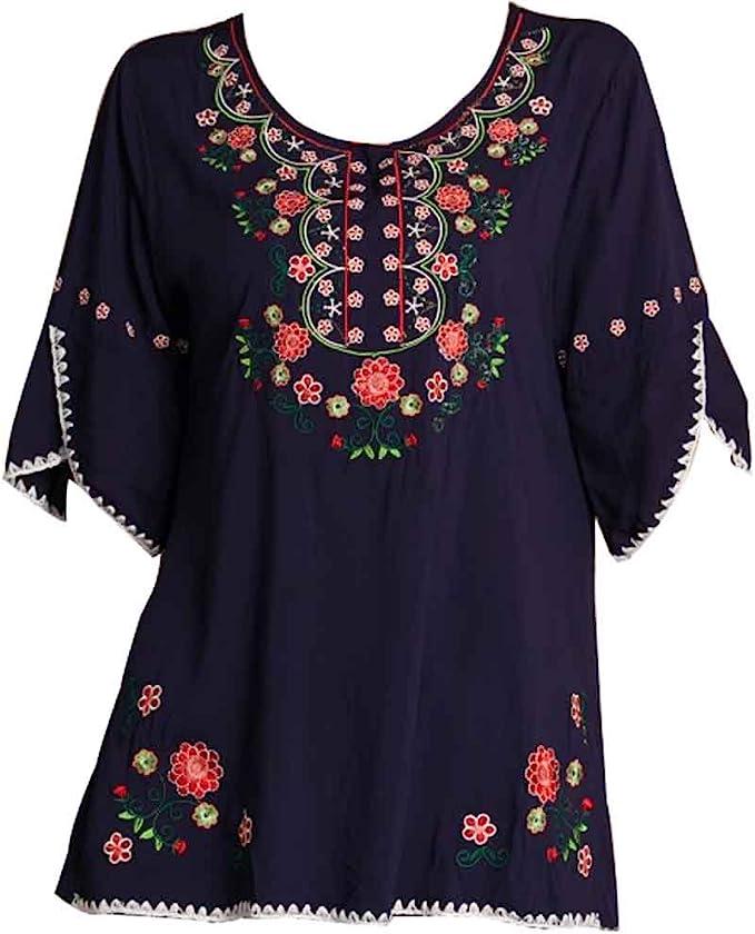 Amazon.com: Ashir Aley Blusa mexicana estilo bohemio bordada ...