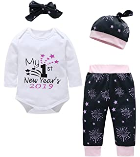 3a337dd07802f EGELEXY Newborn Baby My First New Year Letter Romper Firework Pants Hat  with Headband Outfit