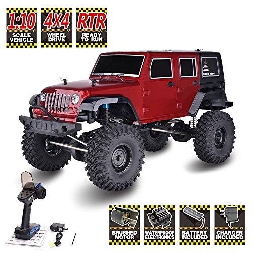 HNR RC Crawlers 1/10 Scale RTR 4wd Off Road Monster Truck Rock Crawler 4x4 High Speed Waterproof RC Car, Latest RC Crawler Off-Road Adventure Vehicle (Red)