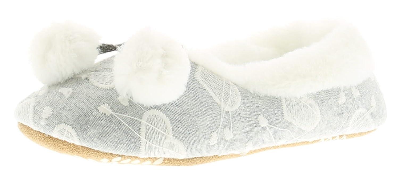 Kickers Nuevo Mujer Gris ANTIDESLIZAMIENTO Pantuflas Zapatillas con Imitación Piel & Pompones - Gris - GB Tallas 3-8 - Gris, 41: Amazon.es: Zapatos y ...