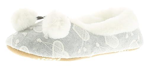 Neu Damen/Damen Grau Slipper Pantoffeln mit Pelz & Pom Poms - Grau - UK Größen 3-8 - Grau, 40