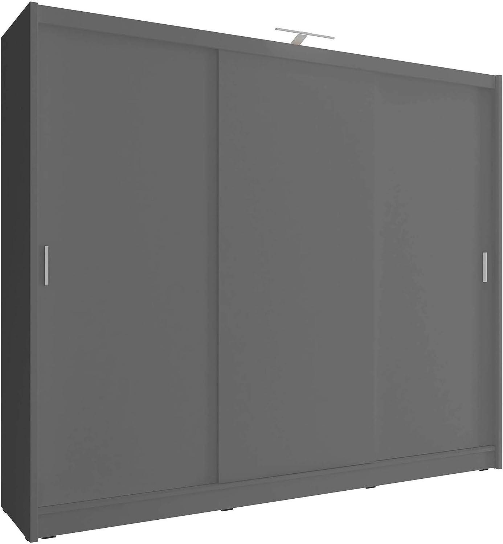 PSK SARAH I GRIS - Armario de 250 cm de ancho, 3 puertas correderas grandes dormitorios estilo moderno