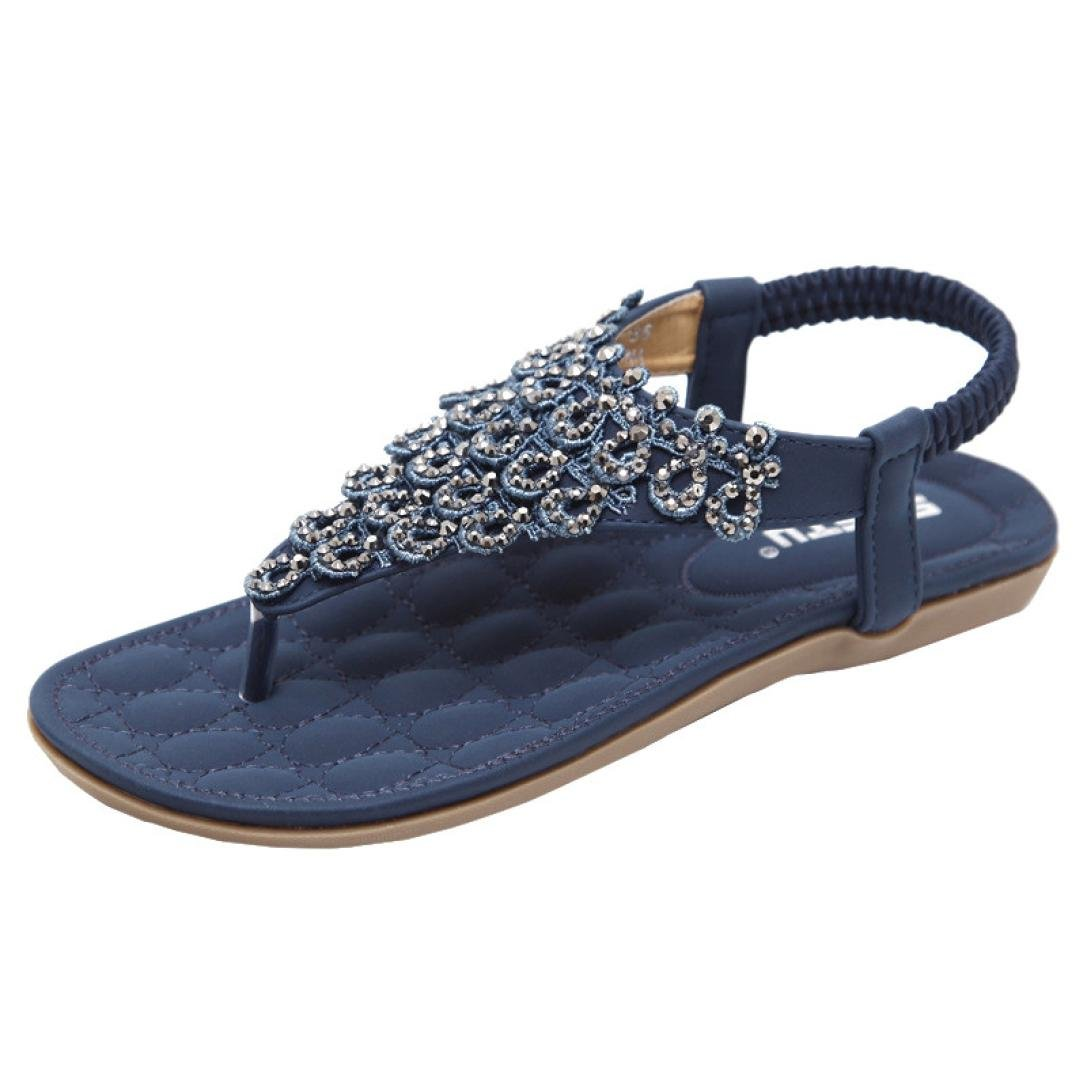 Women Flat Shoes Bead Bohemia Lady Slippe Sandals Peep-Toe Outdoor Shoes (US:8.5,CN:42, Blue)