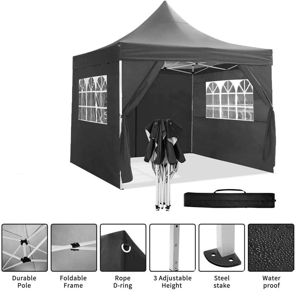 EU Stock Noir casulo Tonnelle Barnum de Jardin Pop Up Imperm/éable 3x3m Pliable avec Rideaux Amovibles