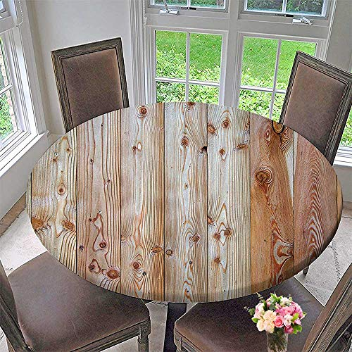 Round Fitted Tablecloth Wood Minimalist Rough Lined Up Tiled Logs Row Plank Surface Image Cream for All Occasions 47.5