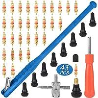VINFUTUR 43 st bilventil däck reparation verktyg kit däckventil dragare + däckventilkärna borttagare + 4-vägs hjul…
