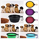 Voberry- Pet Collapsible Bowl Dog Cat Feed Food Fold Raised Bowl Cup Dish Feeding Portable Travel Camping Bowl for Gifts