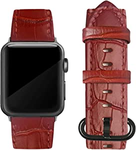 Genuine Leather Band Compatible with Apple Watch 38mm 40mm 42mm 44mm, Replacement Bands, Compatible with Series 5/4/3/2/1, Alligator Print, Black Buckle (Red - Round Buckle, 38mm / 40mm)