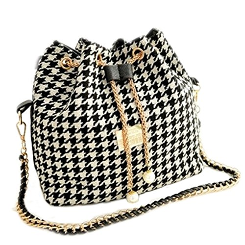 Catkit Womens Houndstooth Check Printed Tote Handbag Shoulder Chain Drawstring Bag (Jacquard Bucket Handbag)