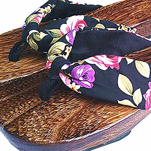 Azbro Mujer Sandalias Geta Zuecos de Madera Tradicional Japonesa Zapatilla Rojo