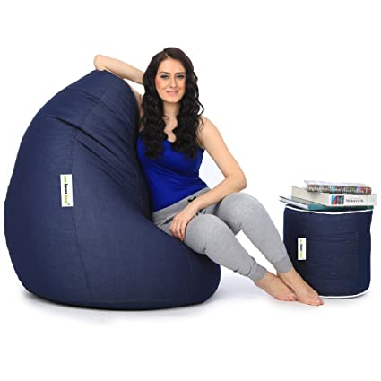 Can XXL Denim Bean Bag And Round Pouffe With Beans (Blue)