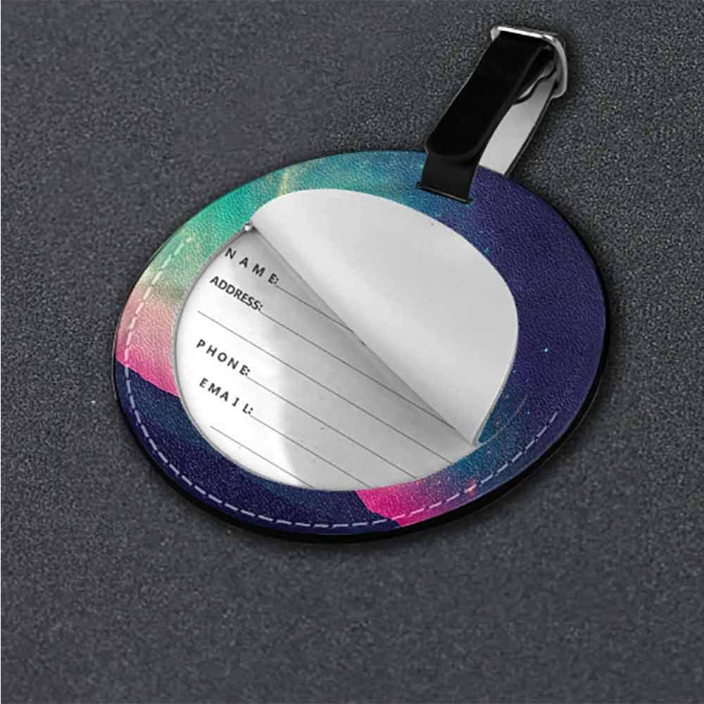 Name Labels Galaxy,Mysterious Space Road Round Luggage Tags