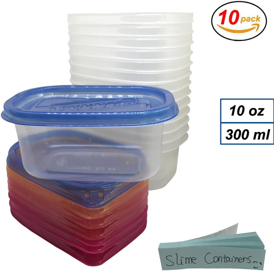 Recipientes con tapas para Slime 10 Pack perlas de plástico transparente caja de almacenaje para bolas de espuma Floam 10 oz y hermético. También para fotos de Jello pegamento masilla Making, blanco: