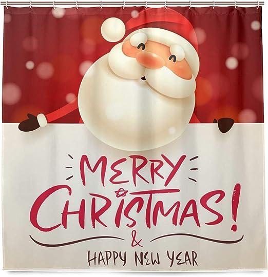 Happy New Year Santa Claus Shower Curtain Bathroom Fabric /& Bath Mat 71*71inches