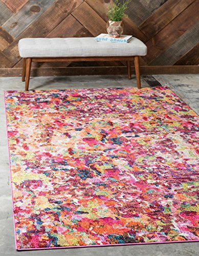 Unique Loom Chromatic Collection Modern Abstract Colorful Kids Magenta Area Rug (4' 0 x 6' 0) (Rug Kids 4x6)