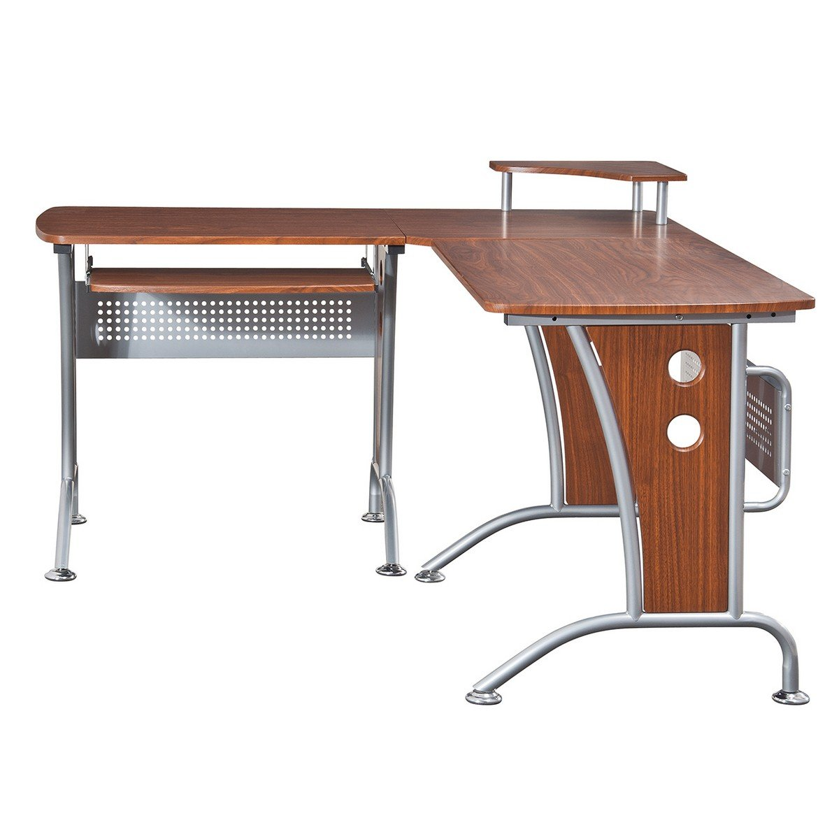 Amazon.com : VIP Suite Ergonomic Corner L Shaped Computer Desk Workstation    Mahogany : Office Desks : Office Products