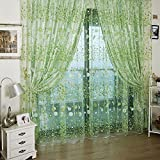 Small Flower Tulle Voile Door Window Curtain Green Drape Panel Sheer Scarf Valances For Bedroom Bathroom Living Room Childrens Room by ZSL