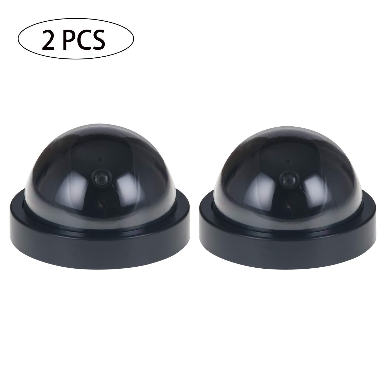GCOA Cámaras de vigilancia Falsas de Seguridad Cámaras Domo CCTV para Interiores y Exteriores con luz LED roja Intermitente, Paquete de 2, Negro product image