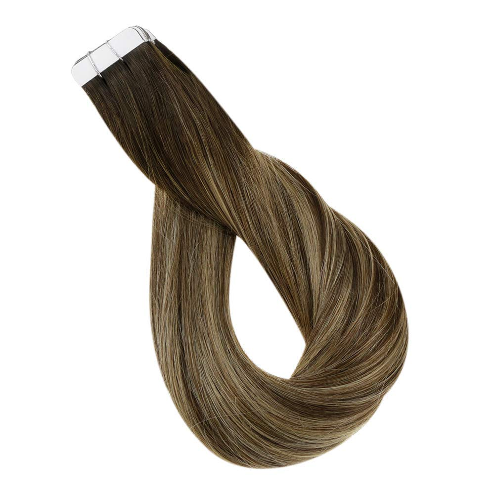 Tape Hair Seamless Skin Weft Full Shine Premium Quality Silky Hair Color 2 Darkest Brown Fading to 3 And 27 Honey Blonde Double Sided Real Human Hair 12 Inch 30 Gram