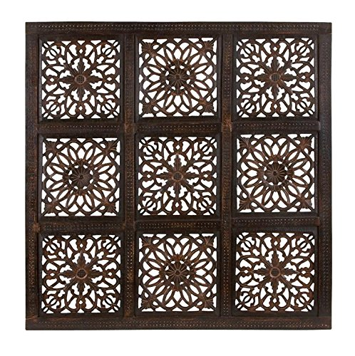 Deco 79 Classy Wooden Wall Panel with Abstract Design, Rustic ()