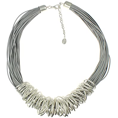 Unique Gifts On The Web Dress wear silver large chunky spiral wrap wire grey leather cord fashion jewellery necklace XDmEja9cu