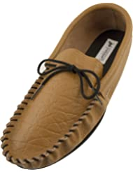 Lambland Mens Genuine Leather Lined Moccasin Slippers with Hard Wearing Sole in Mustard Tan