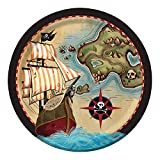 """Creative Converting 8 Count Sturdy Style Paper Dinner Plates, 8.75"""", Pirate's Map"""