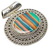"""StarGems(tm) Natural Mosaic Jasper Handmade Boho 925 Sterling Silver Pendant 1 1/4"""""""