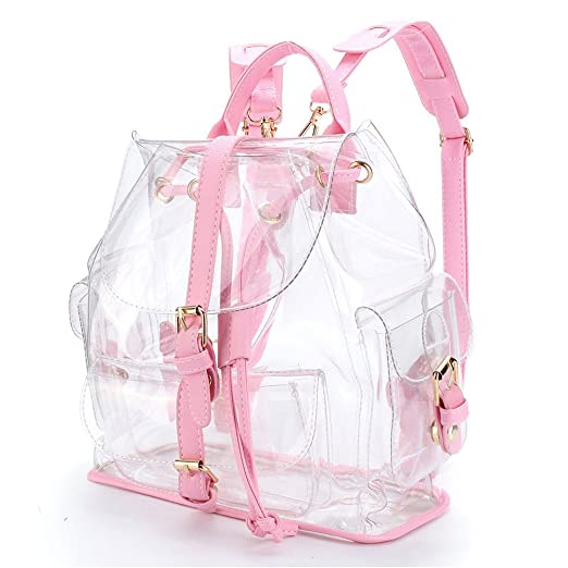 Amazon.com: Fashion Women Bags,Clear Plastic See Through Security Transparent Backpack Bag Travel Bag Shoulder Bag Pink: Clothing