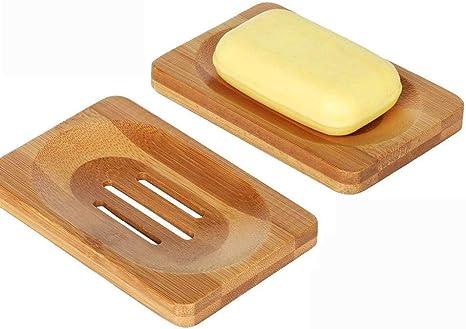 Wskderliner 2 Pezzi PortaSapone di bamb/ù Porta Sapone Naturale con Lavello per Bagno Doccia Cucina