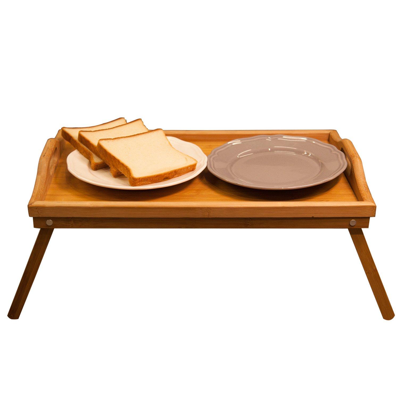 Hankey FT01 Bamboo Breakfast Table Laptop Desk Bed Serving Tray w' Handles Foldable Legs 2232