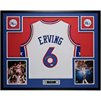 $595 » Julius Erving Autographed White Philadelphia 76ers Jersey - Beautifully Matted and Framed - Hand Signed By Julius Erving and Certified…