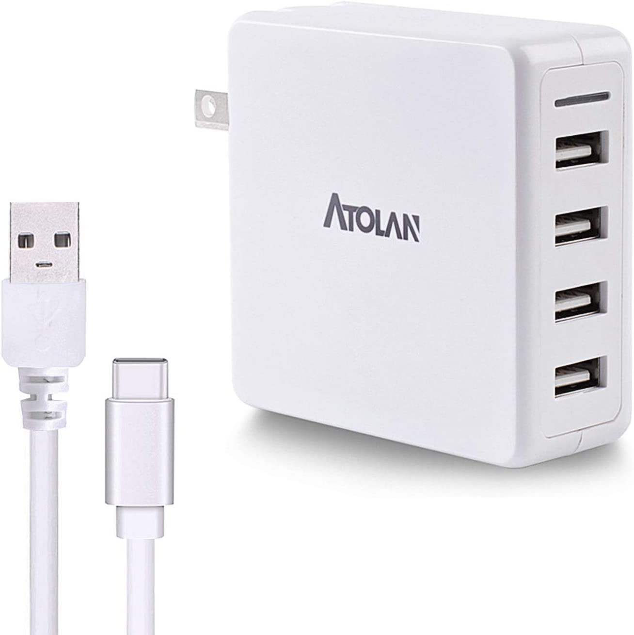 40W USB Wall Charger, ATOLAN 8A 4-Port Multi-Port Charger, Charging Station with Foldable Plug, Compatible for iPhone 11/XS/XS Max/XR/X/8/7/6/Plus, iPad Pro/Air 2/Mini 4/3, Galaxy/Note, LG, and More
