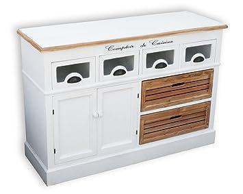 Küchensideboard kmh küchensideboard alsace mit 2 holzkörben und 4 schubladen im