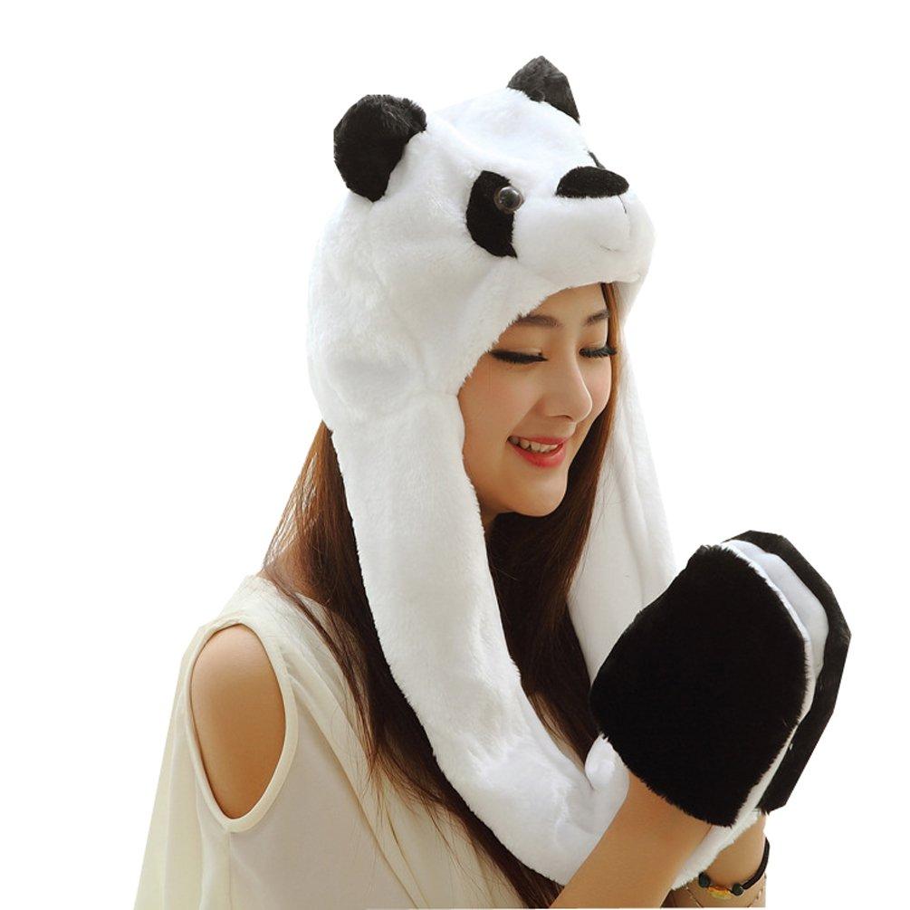 Meta-U Long Animal Faux Fur Hat Hood / Scarf / Snood / Gloves all in one