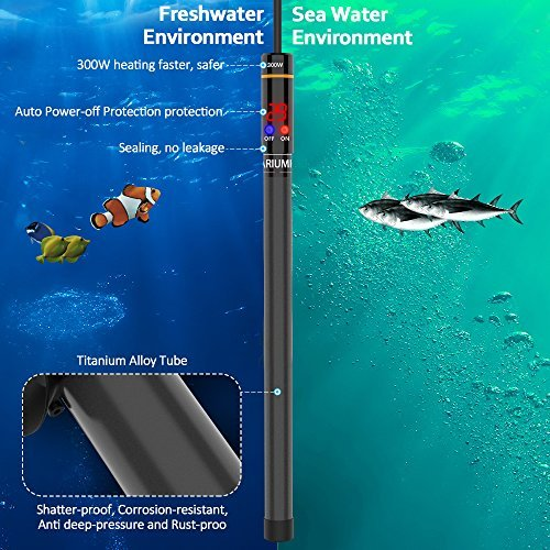 WOLFWILL 300W Submersible Aquarium Heater with Visible Temperature Thermostat Suction Cup Fits 26.5-53 Gallons Fish Tank by WOLFWILL (Image #2)