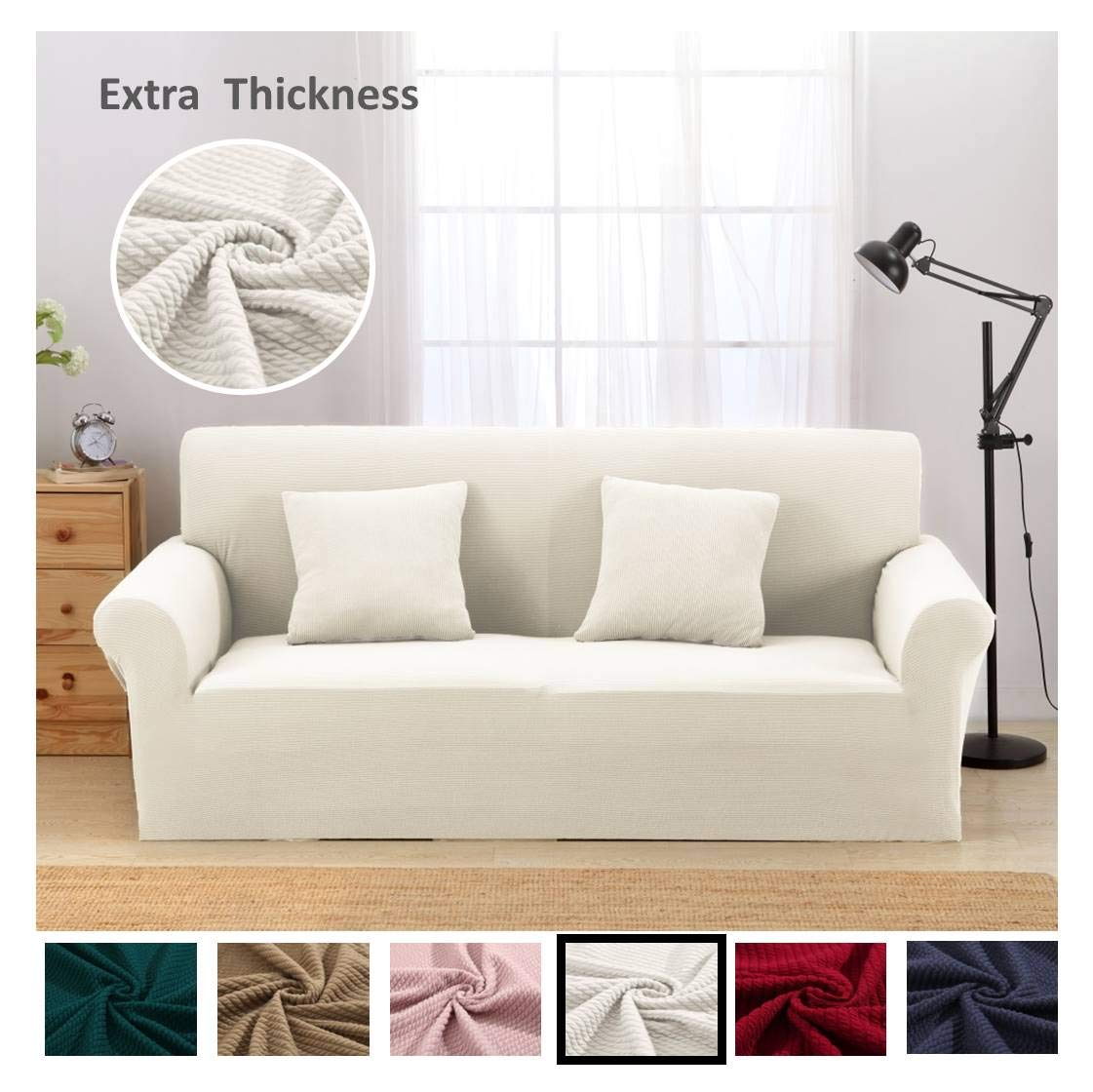 Magnificent Argstar Premium Knit Slip Cover For Sofa Couch Spandex Stretch 3 Seater Slipcover Cream White Pdpeps Interior Chair Design Pdpepsorg