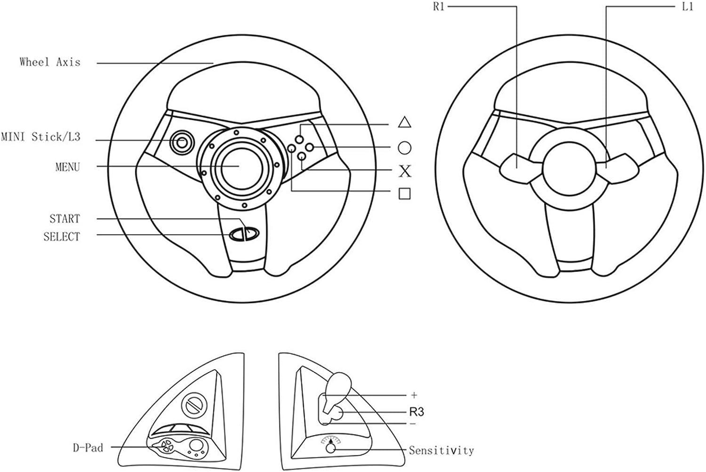 Deux Moteurs de Simulation int/égr/és Direct-X//X-Input//Steam Volant D/étection Automatique de la Console de Jeu Ntribut Volant de Console de Jeu dordinateur Compatible avec PS2 // PS3 // PS4 // PC