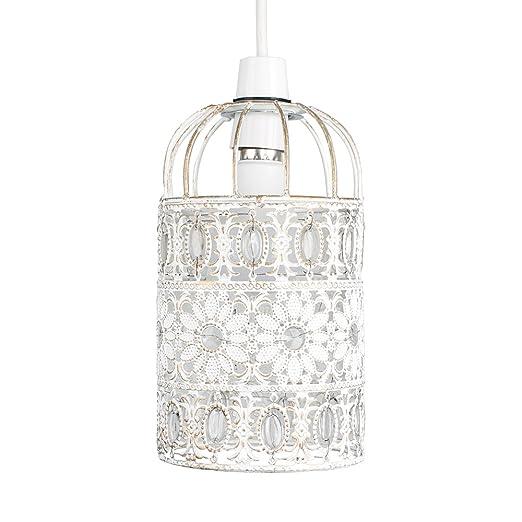 MiniSun - Preciosa pantalla de lámpara de techo de metal vintage, shabby chic – de estilo jaula floral y con ornamentos en blanco crema