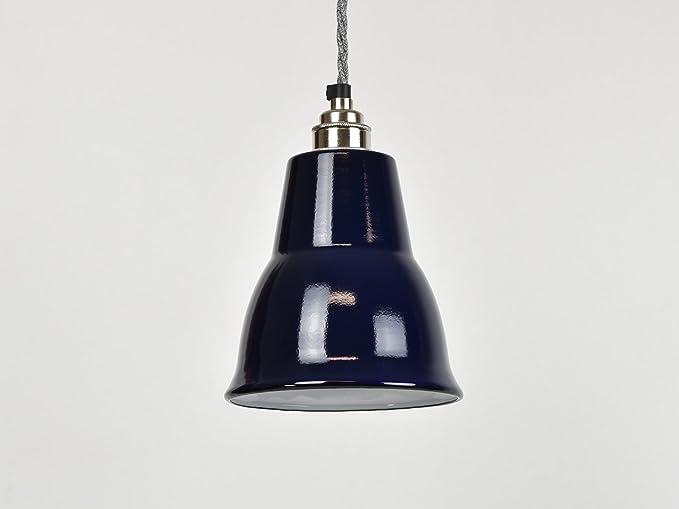 Blue Cone - Lámpara de techo esmaltada industrial vintage de ...