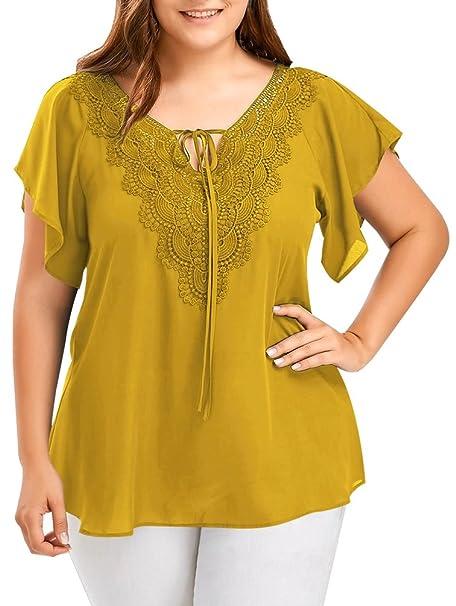 Camisetas Tallas Grandes Mujer Verano Gasa Camisas Tops Cuello V Tunicas Blusas Moda Fiesta Camisas Elegantes Manga Corta Camiseras Suelto T Shirt XL - 5XL: ...