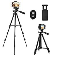 CCroom 42'' Aluminium Portable Trépied pour Caméra, Smartphone, iphone inclut le Support de Téléphone mobile Universel et la Télécommande Bluetooth pour Vidéo et Photo (Noir)