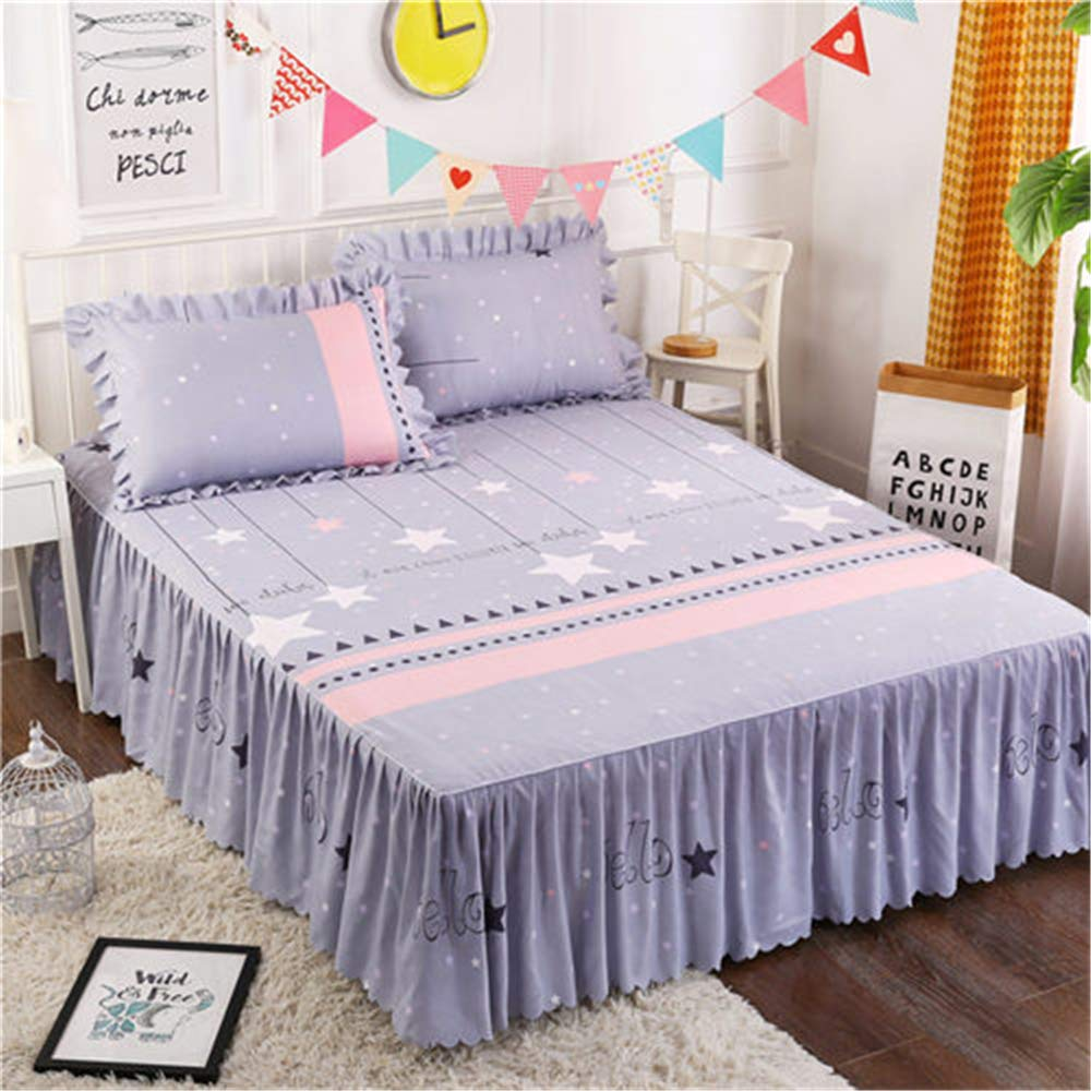 FENGDONG Sanding Fabric Bedspread Fitted Pillowcases Pleated Lace Bed Bedding by FENGDONG