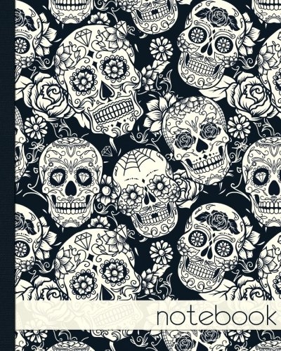 Notebook. Black and White Sugar Skull: Notebook, Notes, Jotter Journal, 100 lined pages.