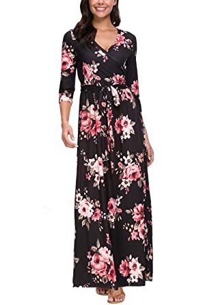 47bad3806ffdb Zattcas Womens 3/4 Sleeve Floral Print Faux Wrap Long Maxi Dress with Belt (