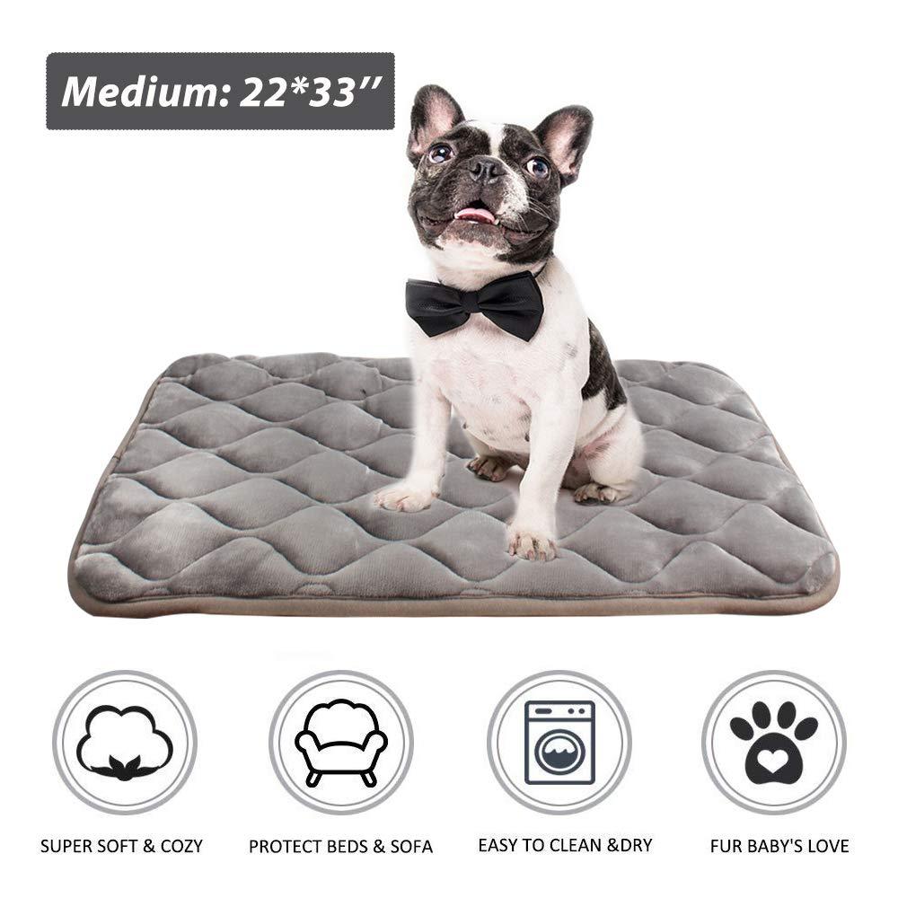 Furrybaby Dog Bed Mat Crate Mat with Anti-Slip Bottom Machine Washable Pet Mattress for Dog Sleeping (M 34x21'', Sliver Grey Mat)