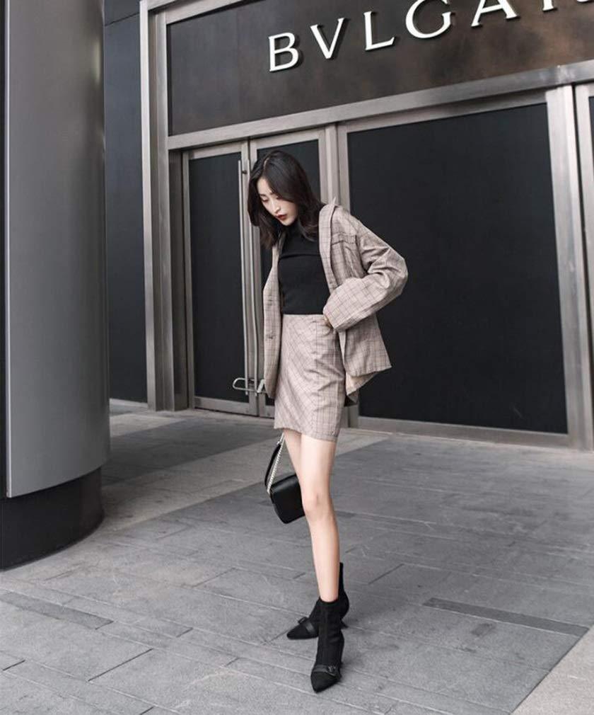 Damenstiefeletten, Herbst Winter High Heel Heel Heel Martin Stiefel Damen Leder Mid Heel Thick Heel Fashion Stiefel (Farbe   EIN, Größe   35) 333bfe